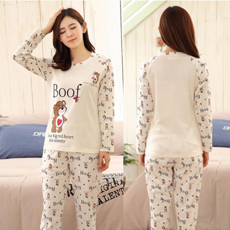 Women Casual Pajama Set Bear Print Long Sleeve Soft Sleepwea
